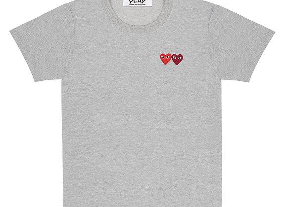 Comme des Garcon Double Heart Gray Tshirt
