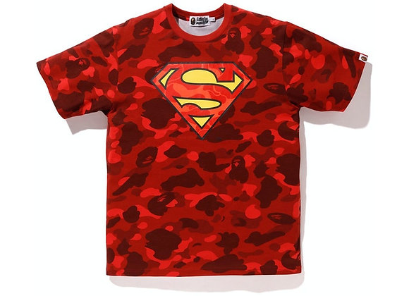 BAPE x DC Superman Color Camo Tee Red