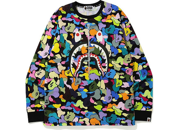BAPE Multi Camo Shark L/S Tee Black