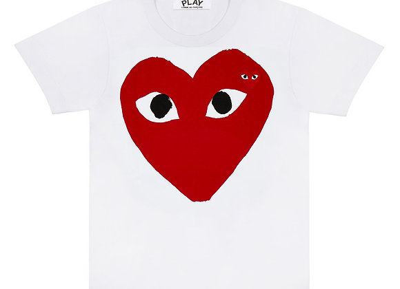 Comme des Garcon Red Play Big Heart White Tshirt