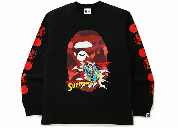 BAPE x DC Superman Long Sleeve Tee Black