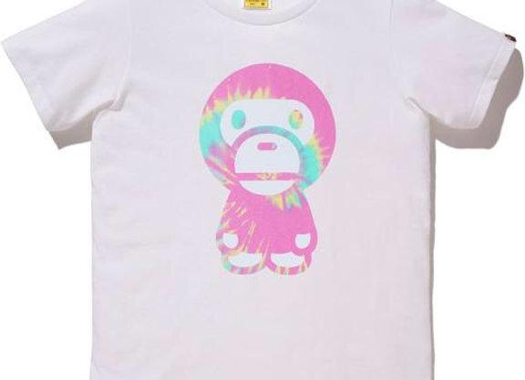 BAPE Pigment Tie Dye Big Baby Milo Tee White/Pink Ladies