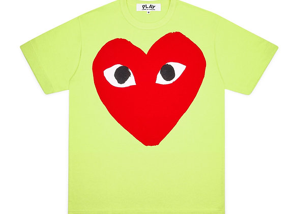 Comme des Garcon Red Play Big Heart  Green T-Shirt