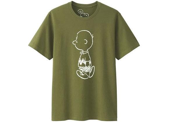 KAWS x Uniqlo x Peanuts Charlie Brown Tee Olive