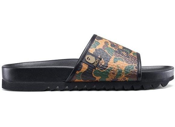BAPE x MCM Camo Slide Sandals Brown