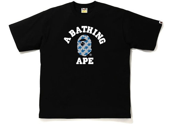 BAPE STA Pattern College Relaxed Fit Tee Black/Blue
