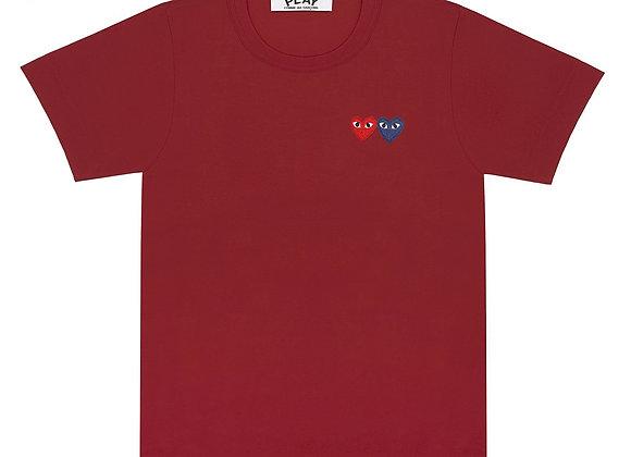 Comme des Garcon Double Heart Burgundy Tshirt