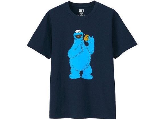 KAWS x Uniqlo x Sesame Street Cookie Monster Tee Navy