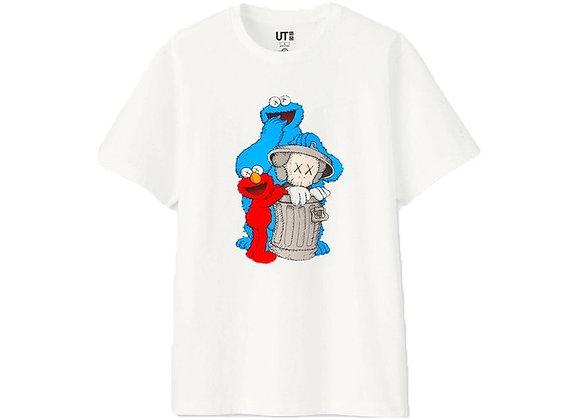 KAWS x Uniqlo x Sesame Street Companion Trash Can Tee