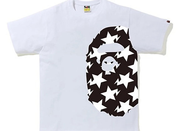 A BATHING APE STA PATTERN SIDE BIG APE HEAD TEE