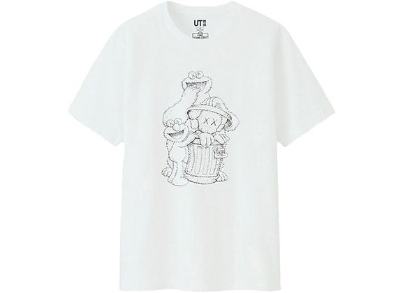 KAWS x Uniqlo x Sesame Street Companion Trash Can Outline Tee White
