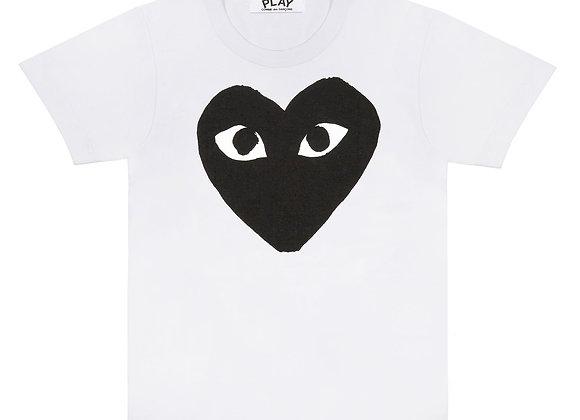 Comme des Garcon Black Play Big Heart White Tshirt