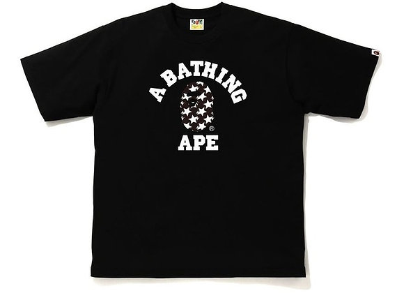 BAPE STA Pattern College Relaxed Fit Tee Black/Black