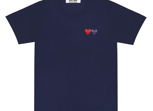 Comme des Garcon Double Heart Navy Tshirt
