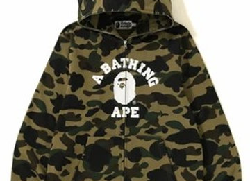 A Bathing Ape Camo College Zip Up Hoodie
