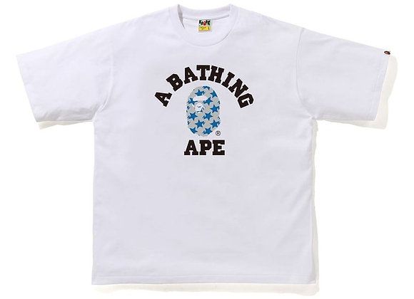 BAPE STA Pattern College Relaxed Fit Tee White/Blue