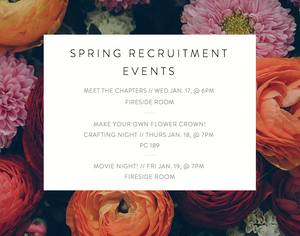 SPRING RECRUITMENT EVENTS ANNOUNCED!