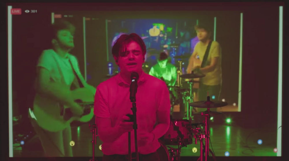 screen grab of the band mid-performance