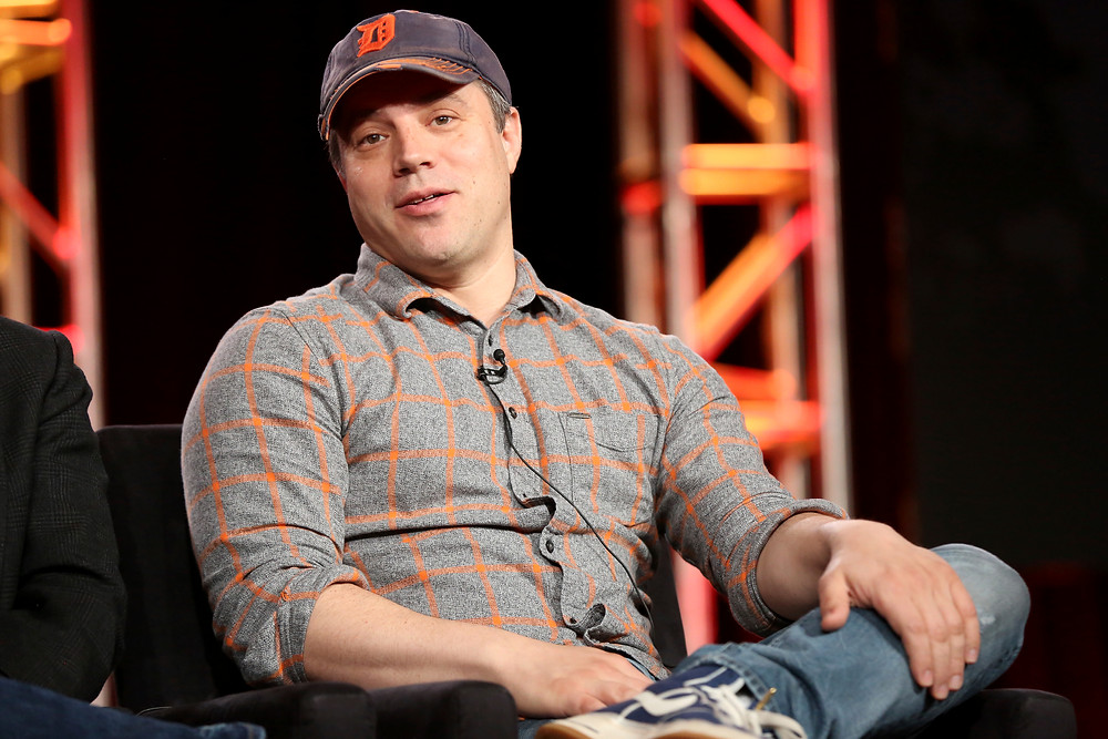 """FILE - In this Jan. 9, 2018 file photo, President and Chief Creative Officer at DC Entertainment Geoff Johns participates in the """"Krypton"""" panel during the NBCUniversal Television Critics Association Winter Press Tour in Pasadena, Calif. Johns, who co-produced """"Justice League,"""" is exiting both roles to focus on creative matters full time. Warner Bros. executive and DC's interim head Thomas Gewecke said Monday, June 11, 2018 that Johns is launching a production company to develop a film and other projects in film, television and comic books. (Photo by Willy Sanjuan/Invision/AP, File)"""