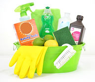 green cleaning products basket