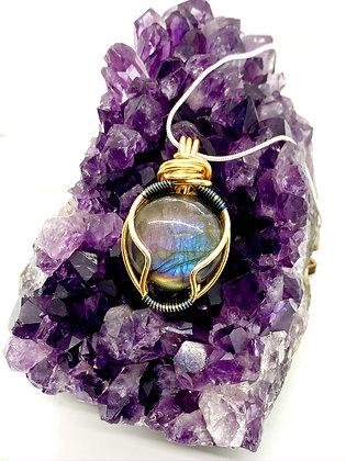 Rare Round Purple Labradorite Pendant