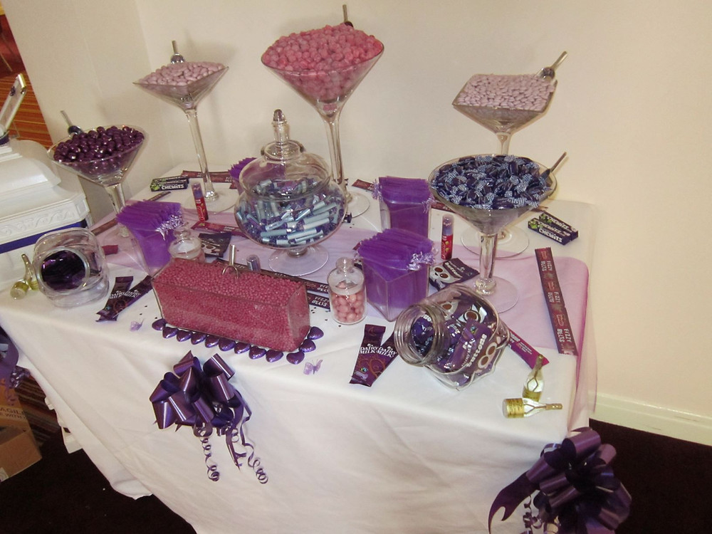 sweets table purple