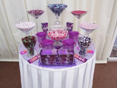 small purple sweet table