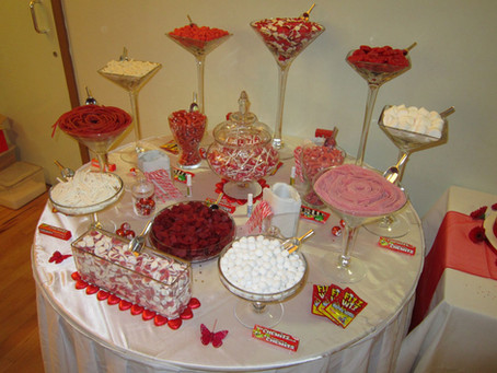 red sweet table hire