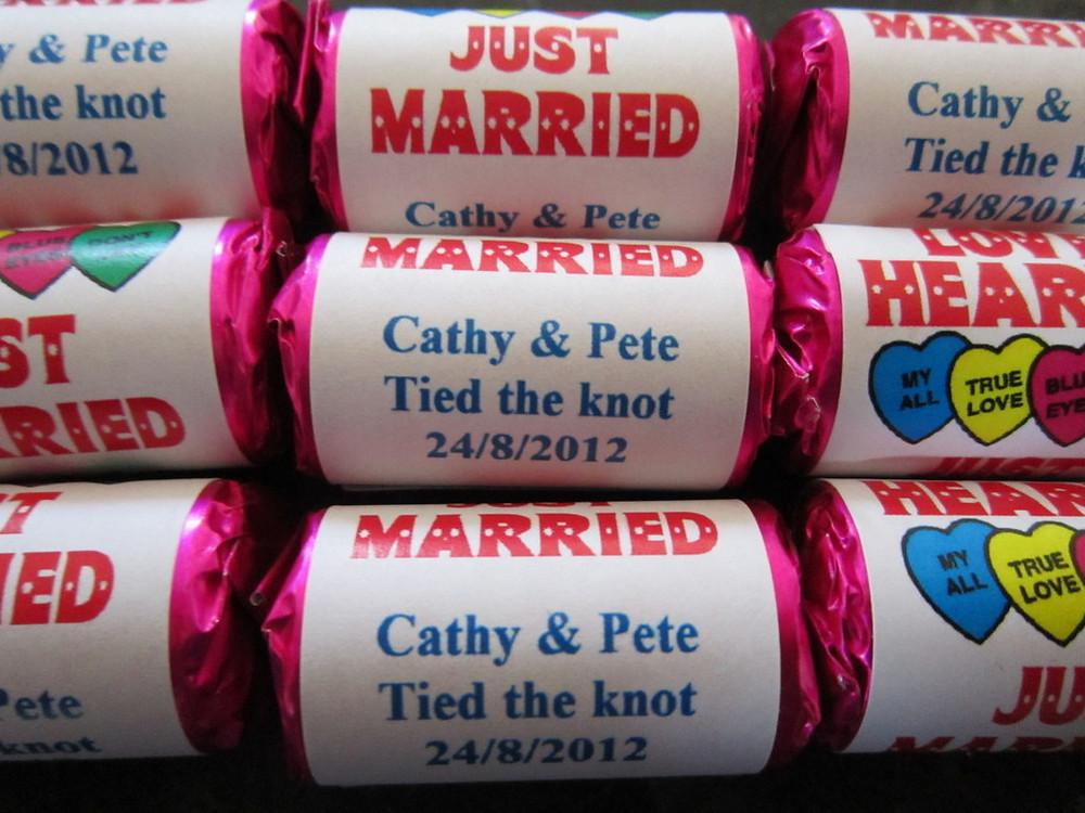 bespoke wedding love hearts sweets