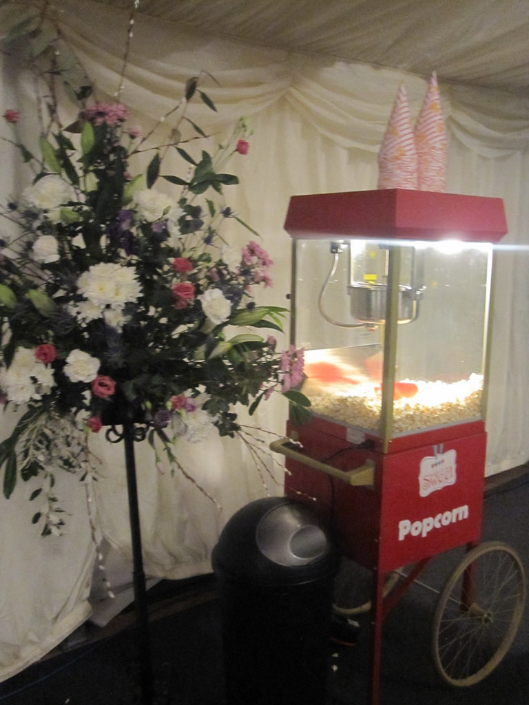 popcorn hire marquee wedding