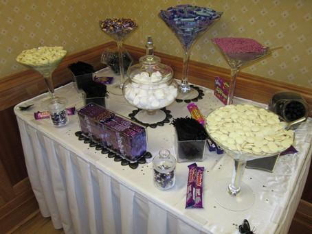 purple black sweet table