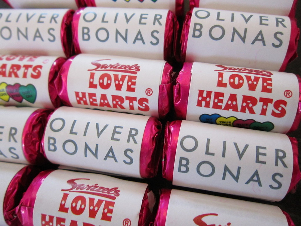 branded love hearts sweets