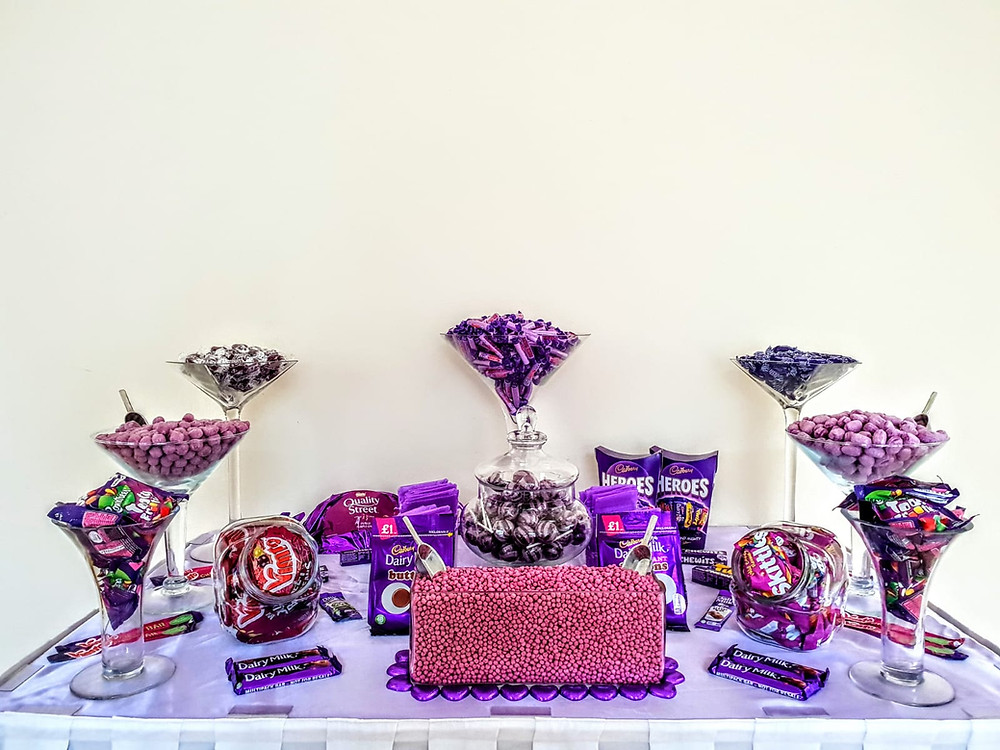 purple sweet table hire at wedding