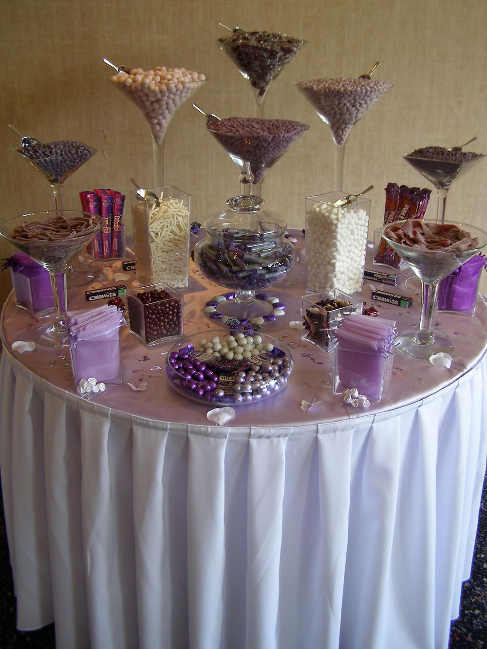 purple sweet table wedding