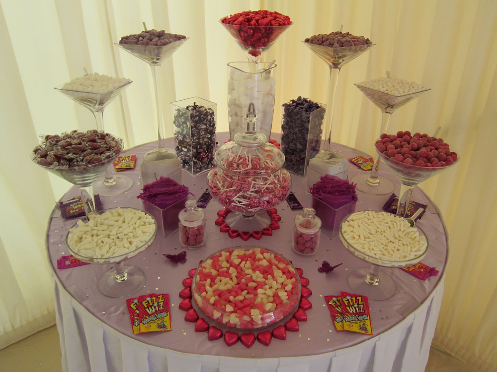 purple fuchsia candy buffet