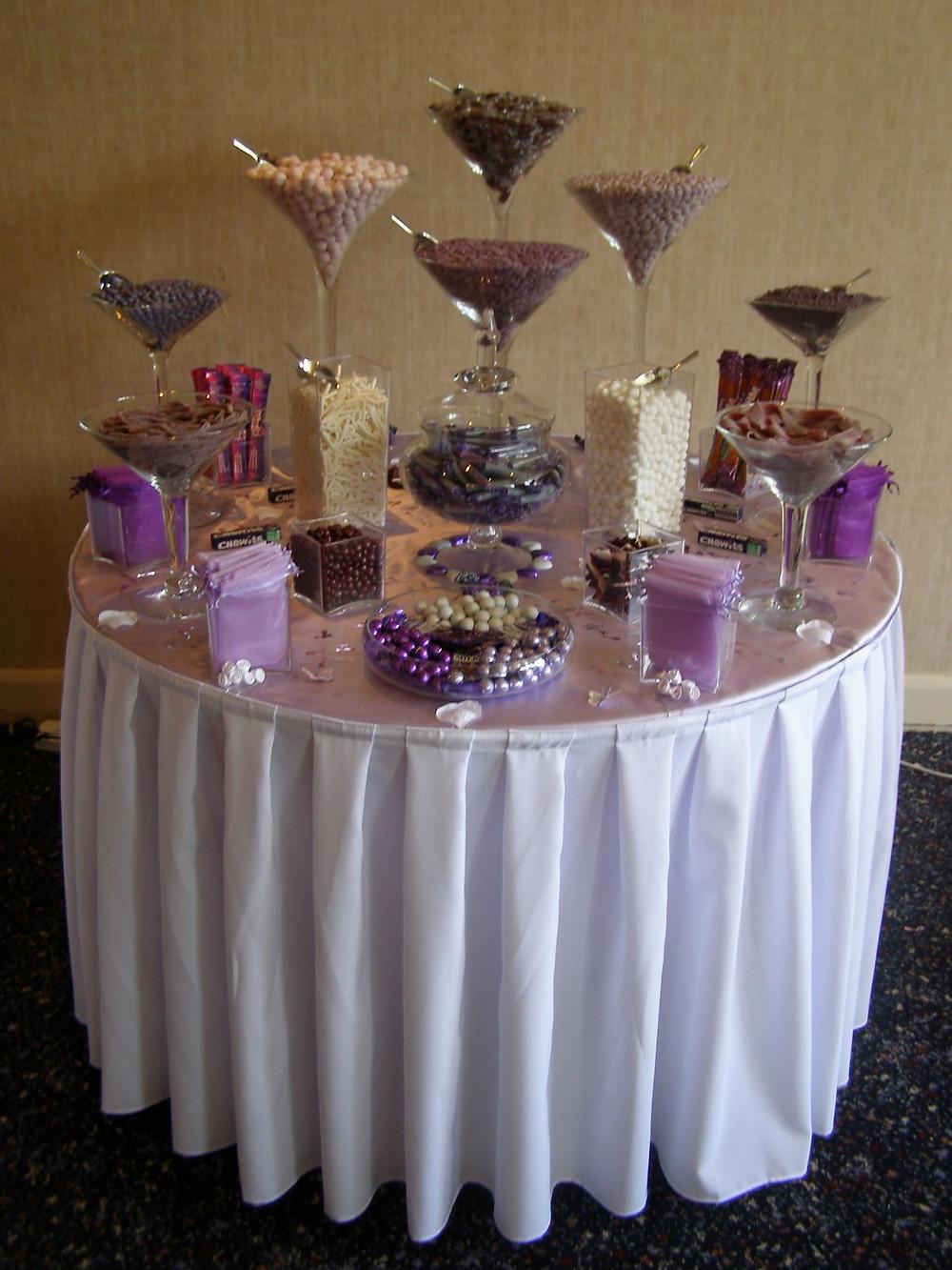 purple sweets on table