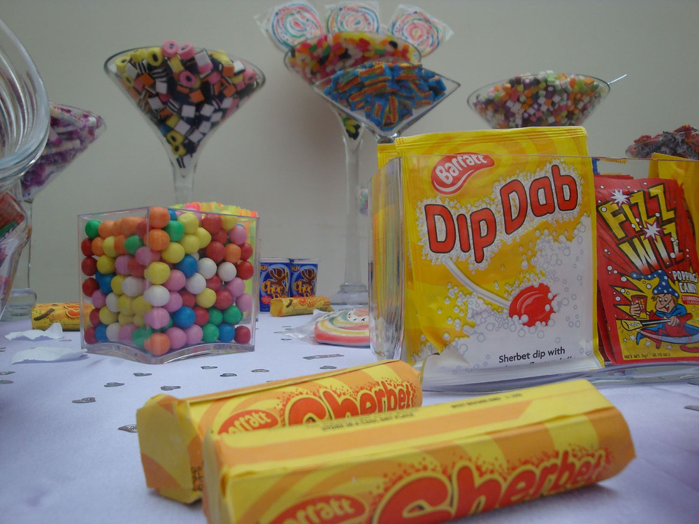 retro sweets at wedding