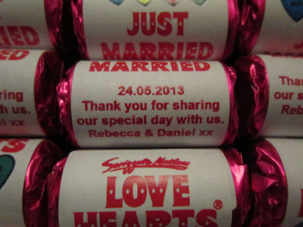 personalized wedding love hearts sweets