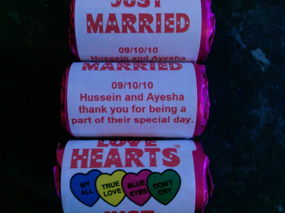 wedding love hearts sweets