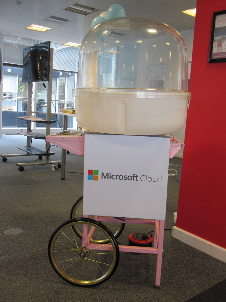 branded candy floss cart