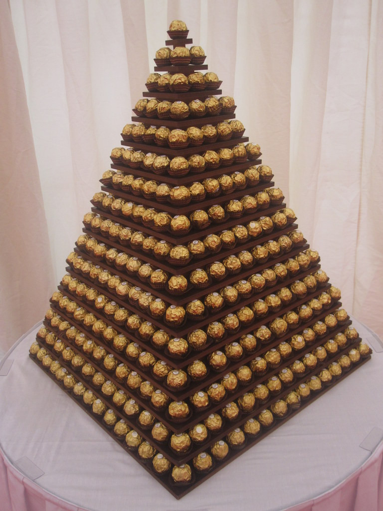 gold chocolate pyramid london hire