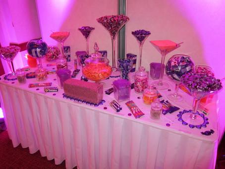 purple orange sweet table
