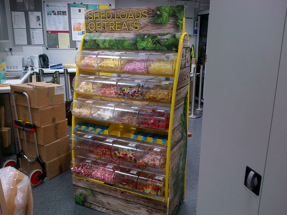 branded pick mix sweets stand