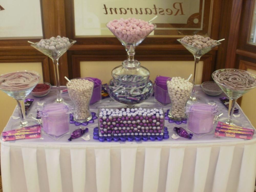 purple sweets cart