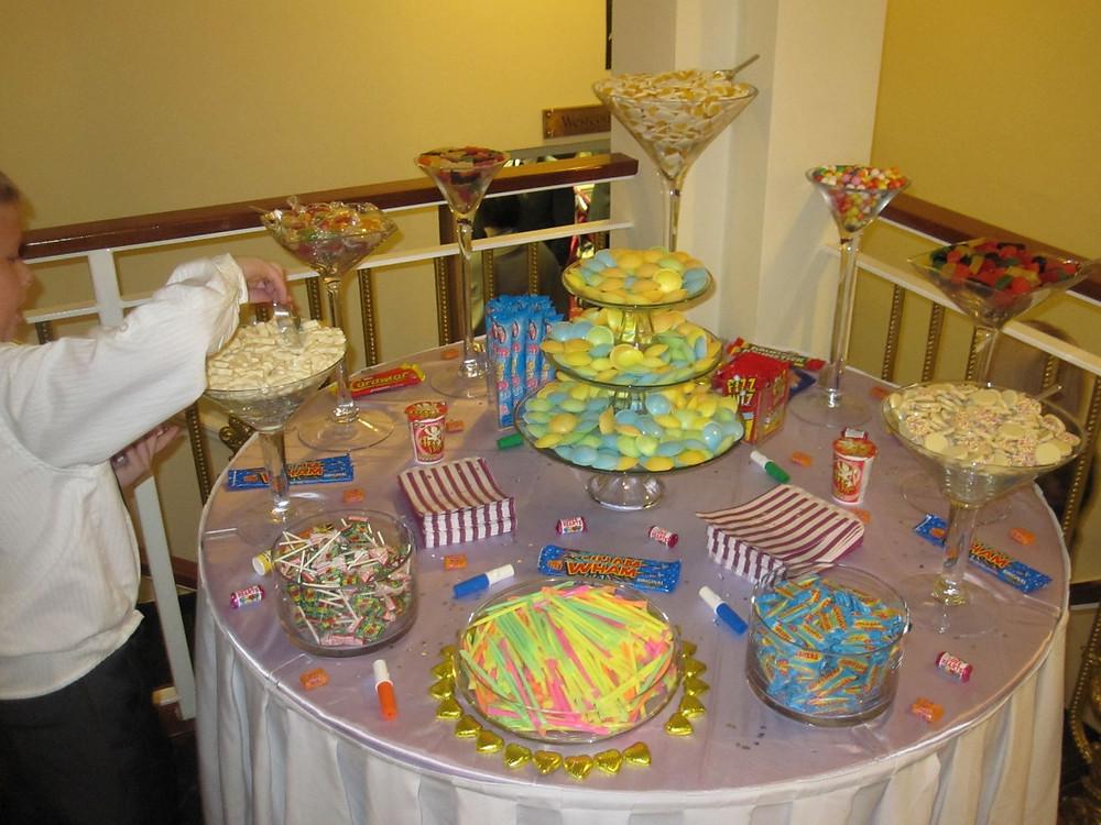 wedding retro candy buffet