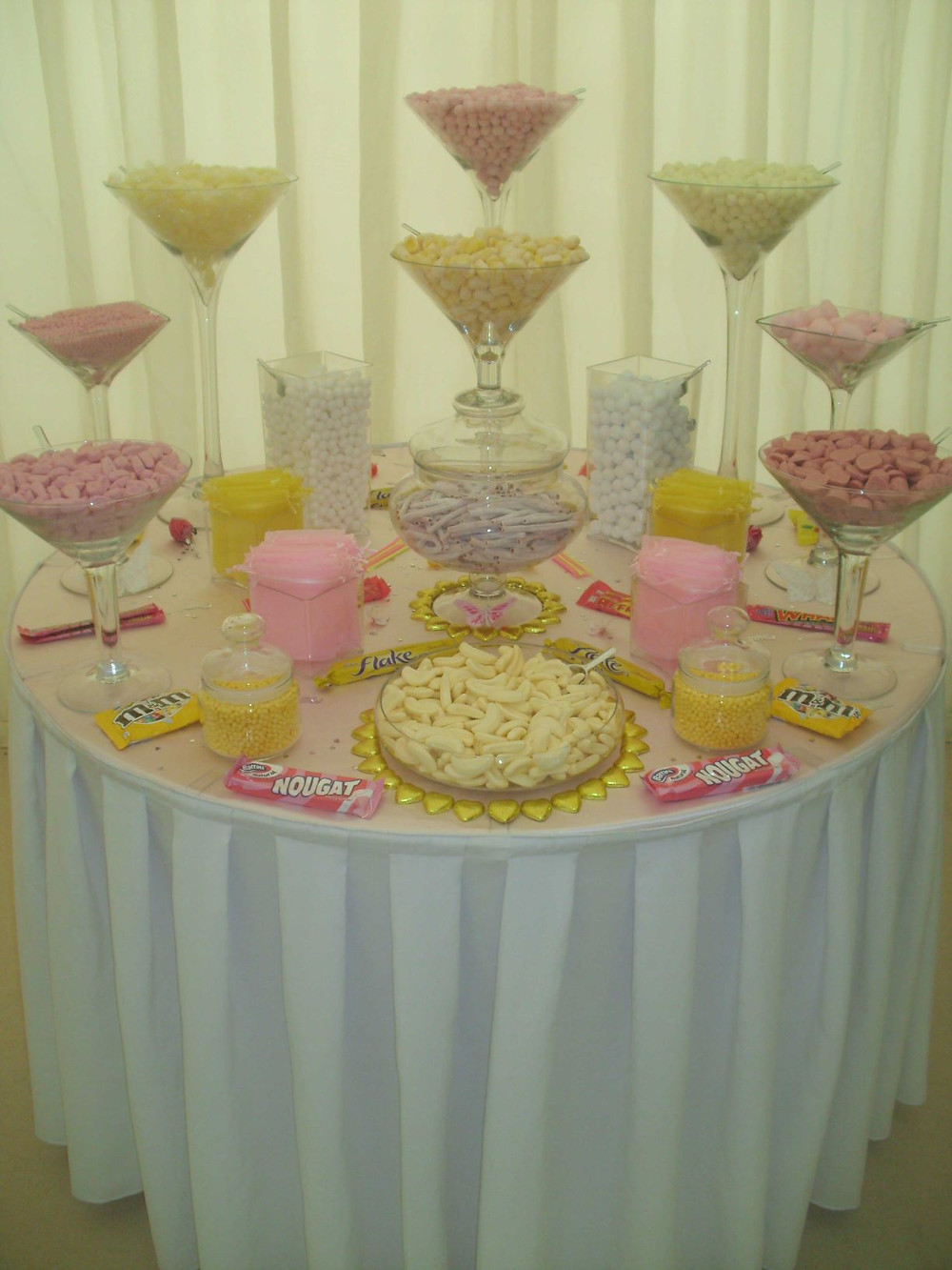 yellow pink sweet table
