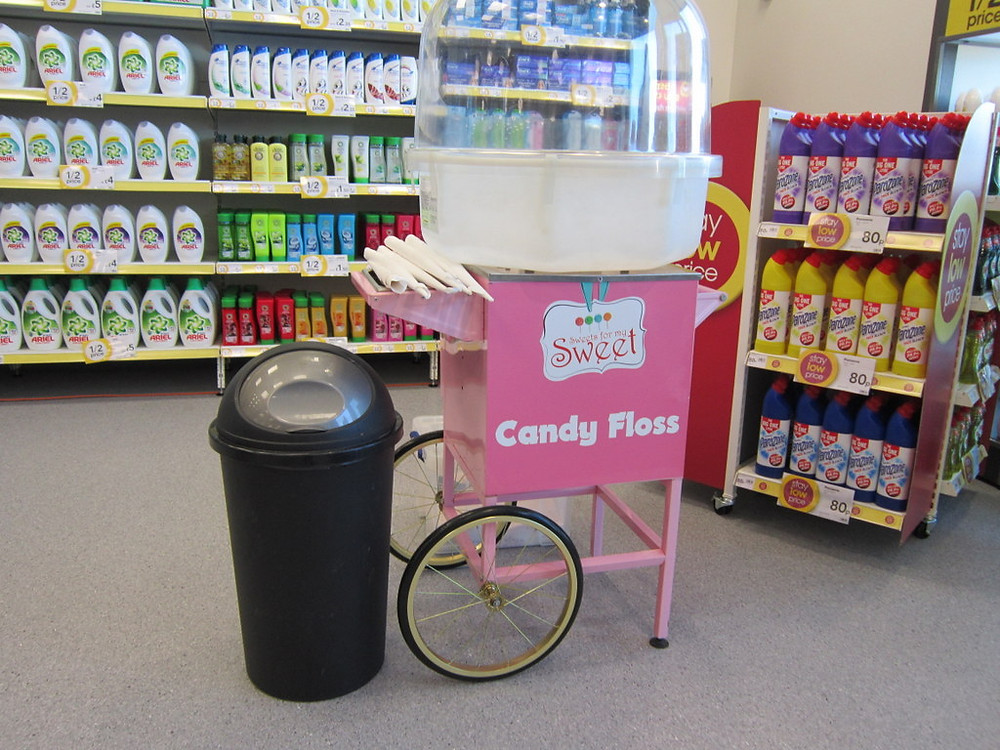 candy floss store promo