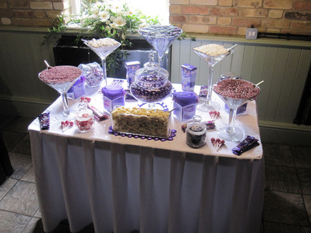 sweets table purple cooling castle barn