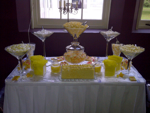 small yellow sweet table