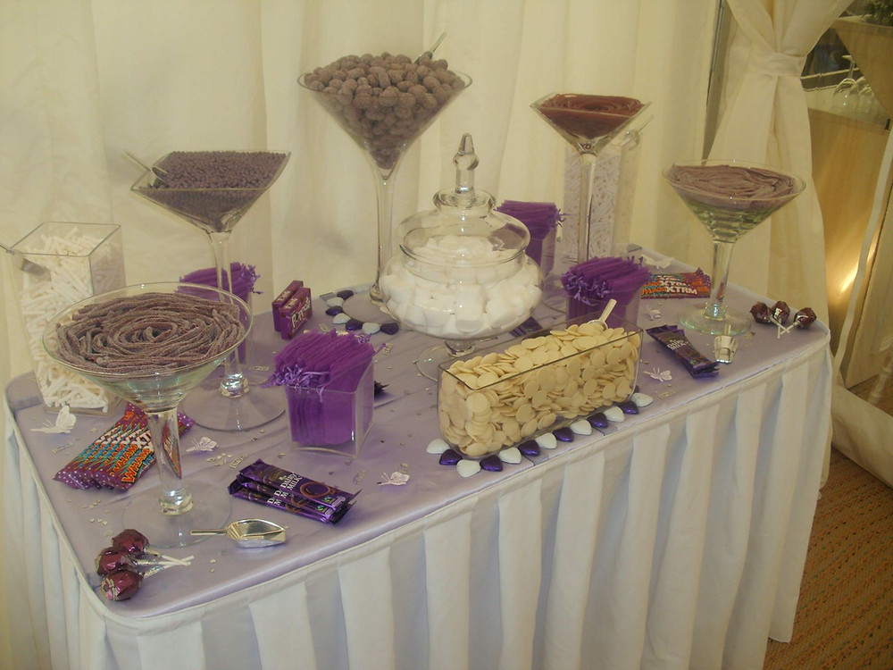 purple sweet table weddings